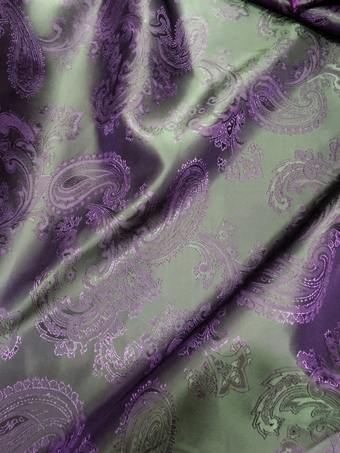 "Paisley Jacquard Viscose Fabric 60""W - Purple & Black"