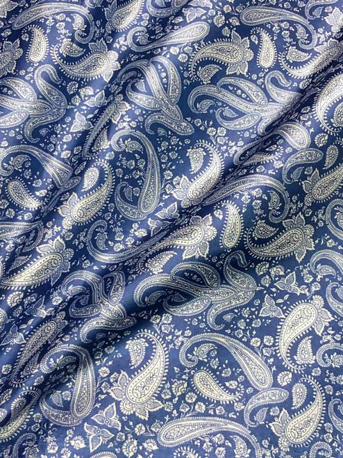 "Paisley Print Viscose Fabric 60""W - Blue & Ivory"
