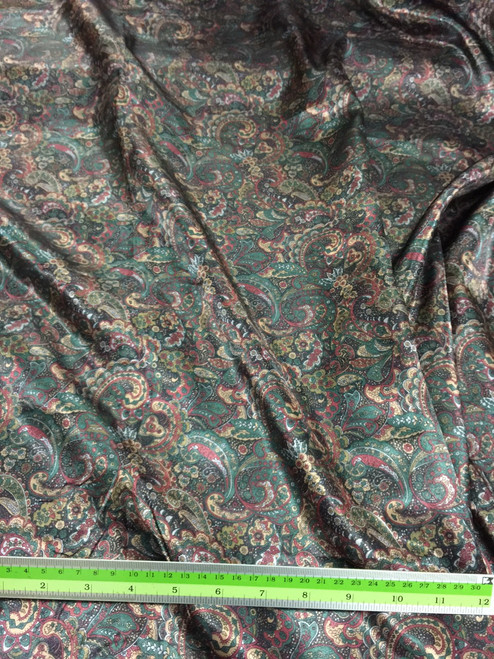 "Paisley Print Viscose Fabric 60""W - Green Red Gold"
