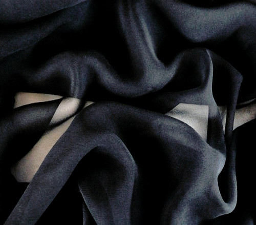 "Black Silk Blend Chiffon Fabric 45""W"