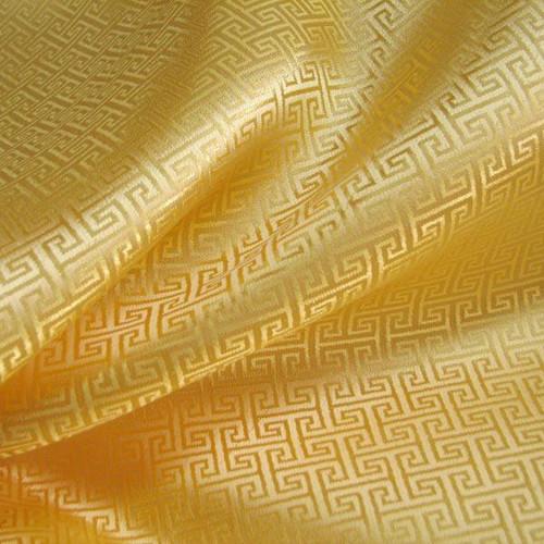 Swirl Wind Oriental Pattern Brocade Faux Silk Shantung - Gold Yellow