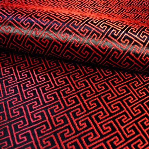 Swirl Wind Oriental Pattern Brocade Faux Silk Shantung - Red & Black