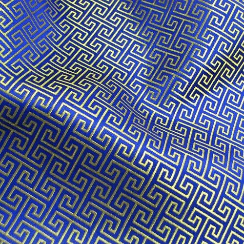 Swirl Wind Oriental Pattern Brocade Faux Silk Shantung - Blue Gold