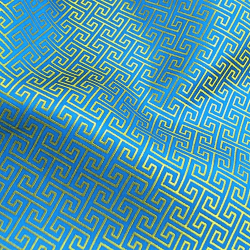 Swirl Wind Oriental Pattern Brocade Faux Silk Shantung - Turquoise Gold