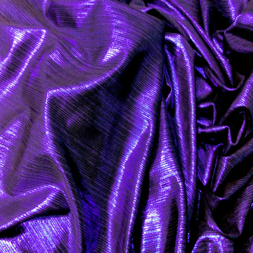 Metallic Pin Stripe Spandex 2Way Stretch Fabric - Purple & Black
