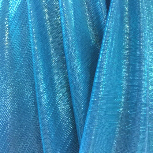 Metallic Pin Stripe Spandex 2Way Stretch Fabric - Turquoise