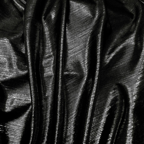 Metallic Pin Stripe Spandex 2Way Stretch Fabric - Black
