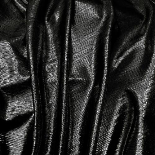 Metallic Pin Stripe Spandex 2Way Stretch Fabric - Black