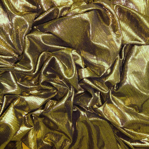 Metallic Pin Stripe Spandex 2Way Stretch Fabric - Gold & Black