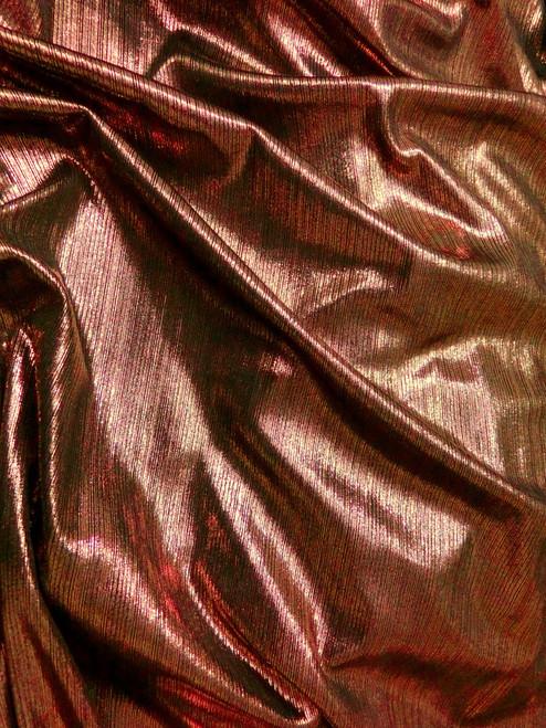 Metallic Pin Stripe Spandex 2Way Stretch Fabric - Copper