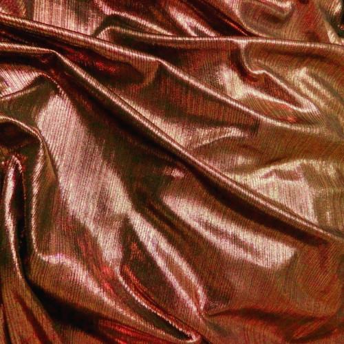 Metallic Pin Stripe Spandex 2Way Stretch Fabric - Copper