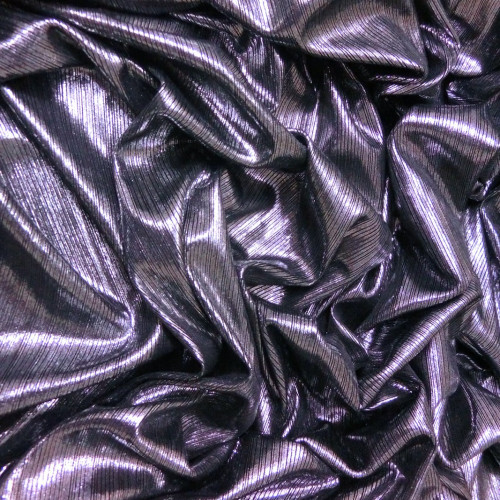 Metallic Pin Stripe Spandex 2Way Stretch Fabric - Black & Silver