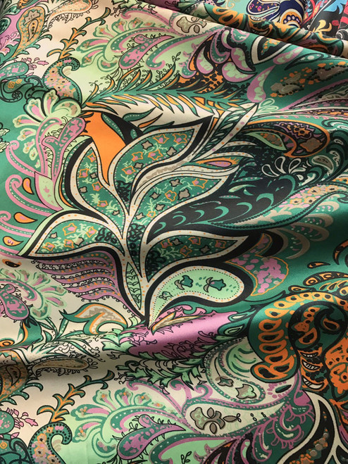 "Colorful Floral Paisley Faux Silk Satin 48""W Fabric - Green"