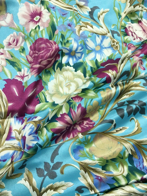 """Anna Louise & Louise Odier Rose Flowers Floral Print Faux Silk Satin 48""""W Fabric- Turquoise Blue"""