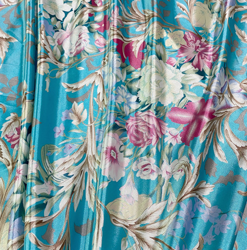 "Anna Louise & Louise Odier Rose Flowers Floral Print Faux Silk Satin 48""W Fabric- Turquoise Blue"