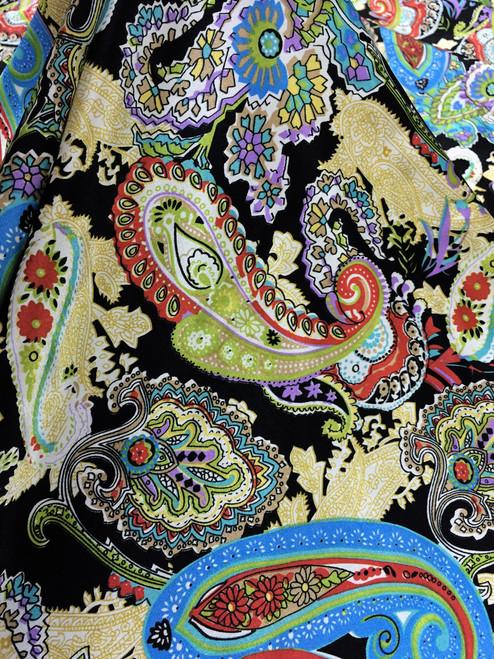 "Paisley Faux Silk Satin 48""W Fabric - Black"