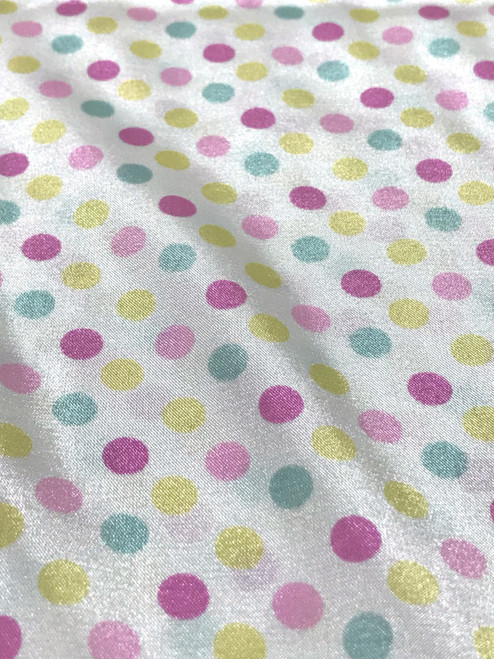 """Multi Color Polka Dot Faux Silk Satin 48""""W Fabric - Ivory Pink Blue"""