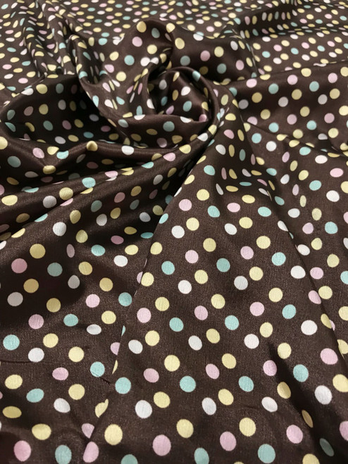 "Multi Color Polka Dot Faux Silk Satin 48""W Fabric - Brown Blue Pink"