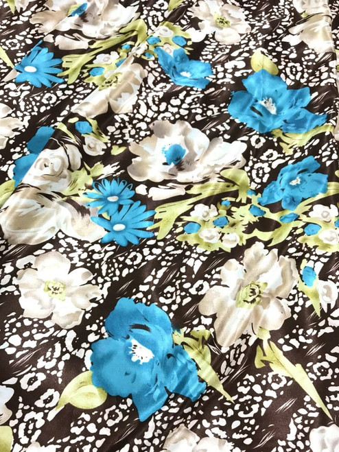 "Floral Faux Silk Satin 60""W Fabric - Brown Turquoise"