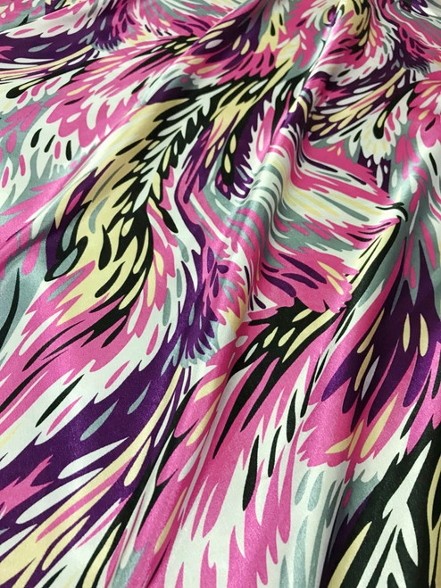 "Feather Prints Dusty Pink Faux Silk Satin 48""W Fabric"