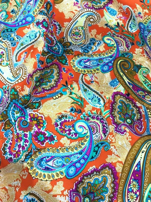 "Paisley Print Faux Silk Satin 48""W Fabric - Orange Blue"