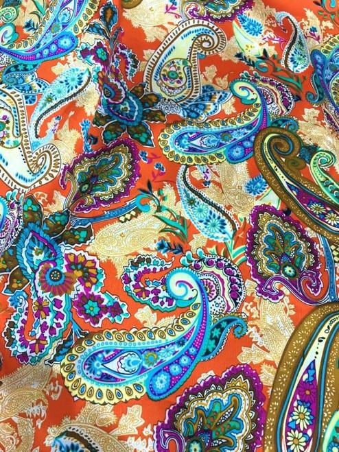 "Paisley Print Faux Silk Satin 48""W Fabric - Orange Blue"