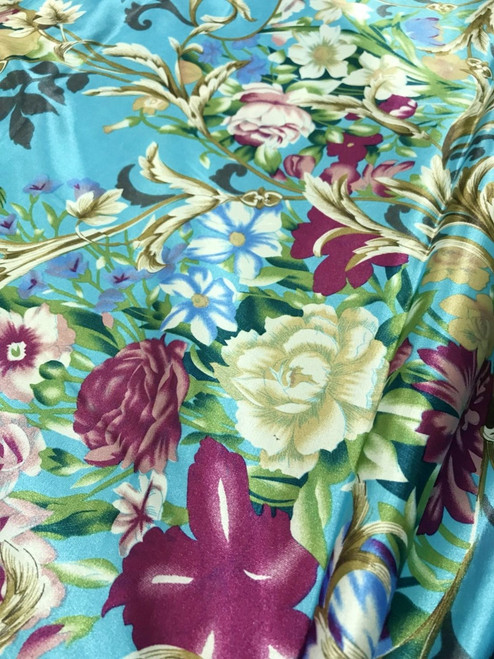"Floral Colorful Roses Faux Silk Satin 48""W Fabric - Turquoise Blue"
