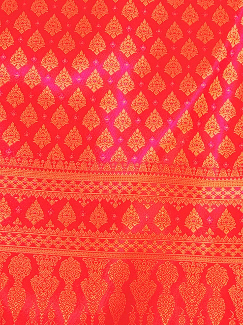 "Thai Silk Damask 40""x72"" Fabric (PB) - Red & Gold"