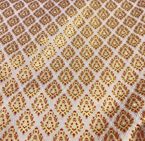 "Traditional Damask Metallic Print Thai Silk Fabric 40""x72""- Cream Red Brown"