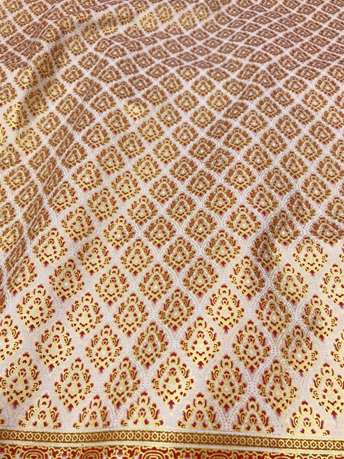 "Traditional Damask Metallic Print Thai Silk Fabric 40""x72""- Cream Red Brown"