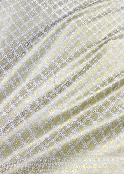 Traditional Thai Silk Dress Fabric Metallic Print White & Gold