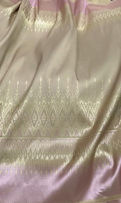 "Traditional Thai Silk Damask 40""X70"" Fabric (PT) - Pink & Gold"