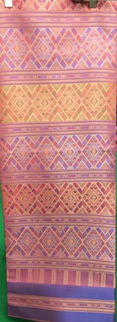 """Traditional Thai Silk  Fabric 40""""x80"""" for Thai-Laos Skirt (Praewa) - Pink Peach"""