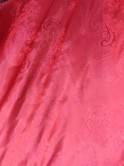 "Paisley Jacquard Viscose Fabric 60""W - Red"