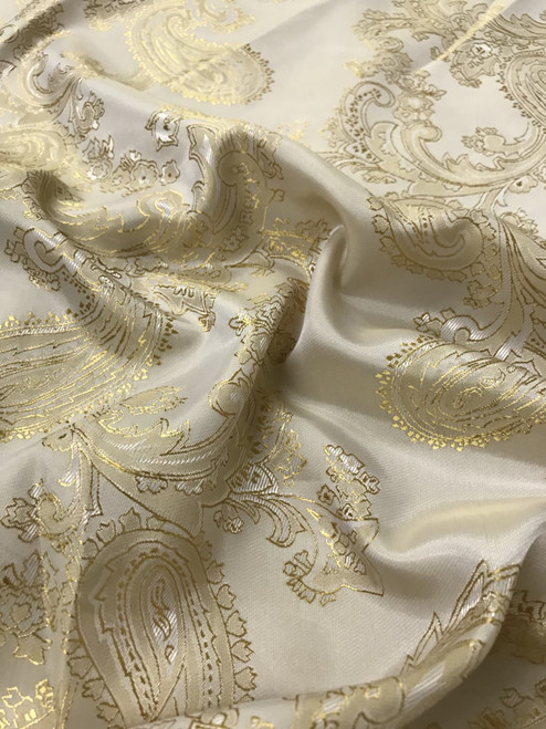 "Paisley Jacquard Viscose Fabric 60""W - Cream Gold"