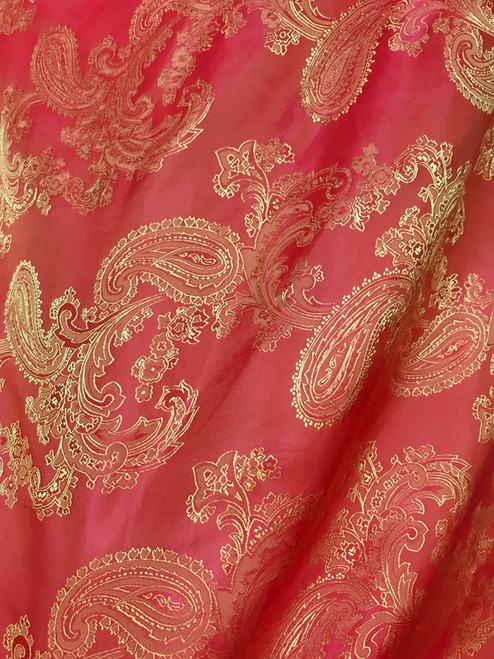 "Paisley Jacquard Viscose Fabric 60""W - Orange Red Gold"
