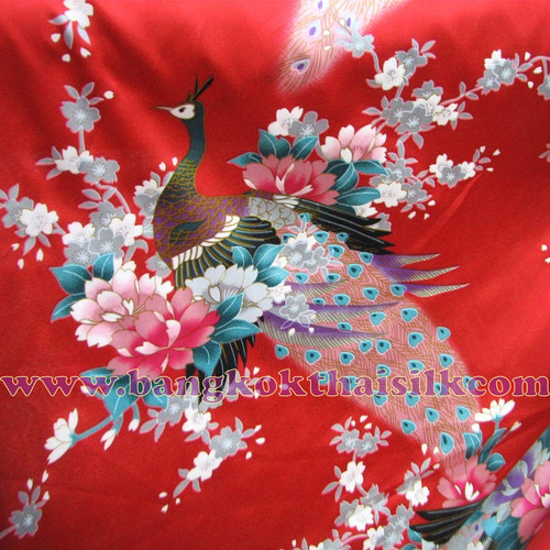 "Peacock Faux Silk Satin Fabric 48""W - RED"