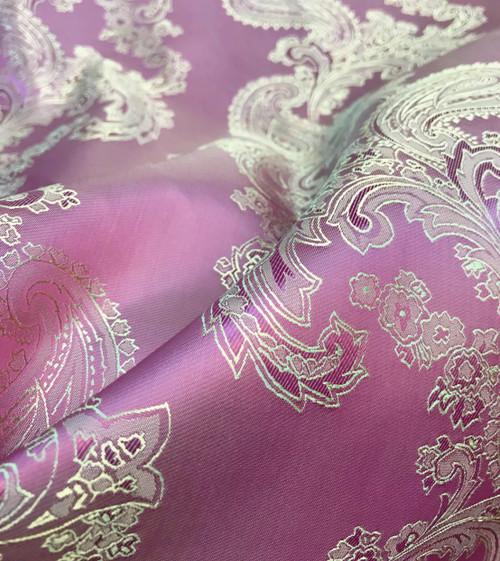 "Paisley Jacquard Viscose Fabric 60""W - Dusty Rose Gold"