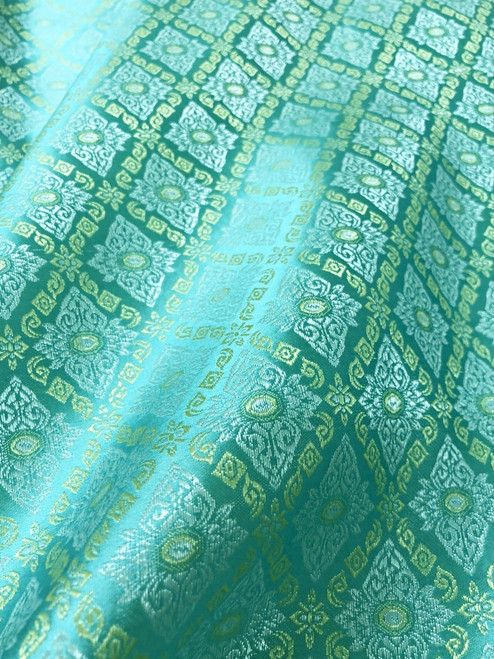 "Traditional Thai Silk Damask 60""W Fabric  - MINT GREEN"