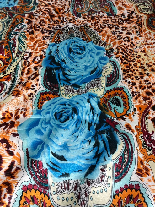 Leopard Animal Print & Roses Satin Fabric - Copper Brown Turquoise