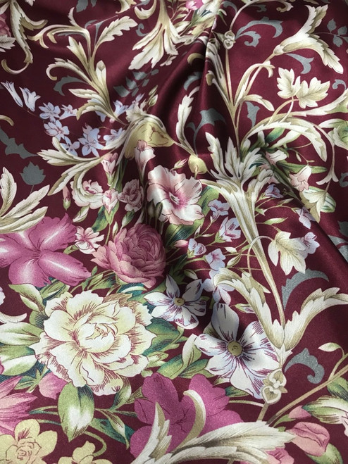 "Anna Louise & Louise Odier Rose Flowers Floral Print Faux Silk Satin 48""W Fabric - Dark Red"