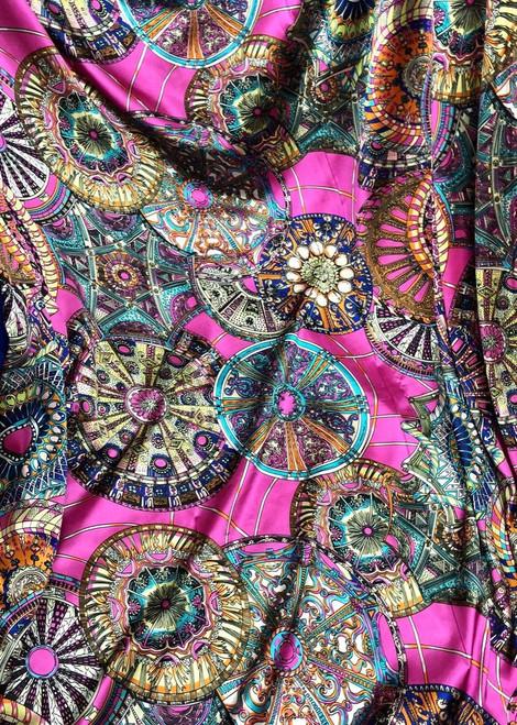 Circles North Lights Faux Silk Satin Fabric - Hot Pink
