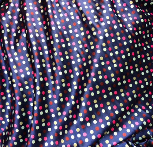 "Multi Color Polka Dot Faux Silk Satin 48""W Fabric - Navy Blue & Pinks"