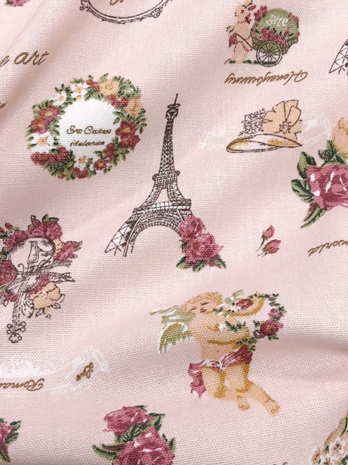 "Paris Rosette Print 100% Cotton Fabric 44""W - Pink"