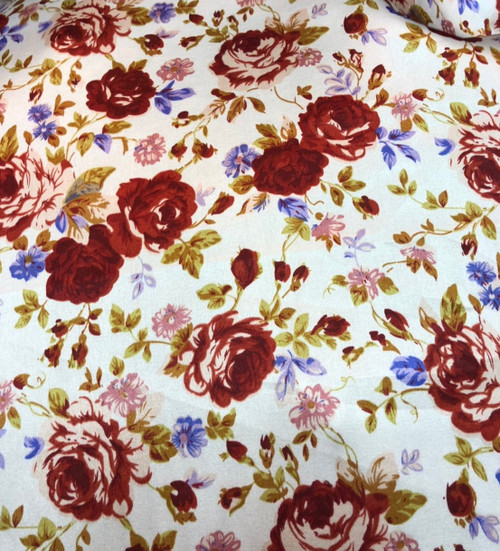 """Floral Roses Ivory-Burgundy Faux Silk Satin 48""""W Fabric"""