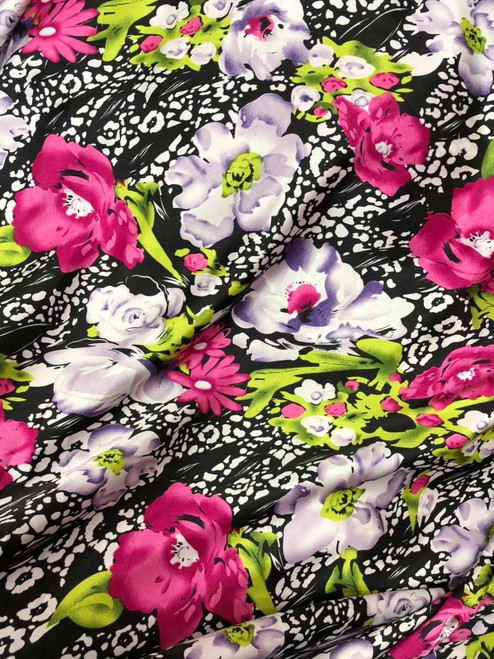 "Floral Faux Silk Satin 60""W Fabric - Black-Hot Pink-Green"