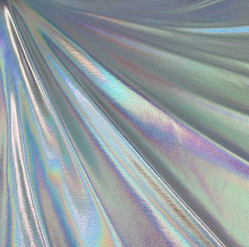 Metallic Foil Lame Spandex Knit Fabric - Silver Iridescent Hologram