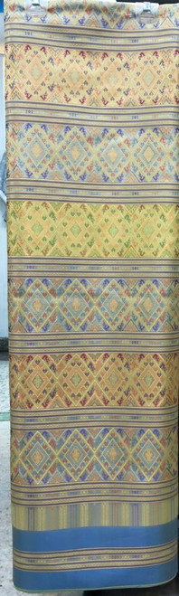 "Traditional Thai Silk  Damask Fabric 40""x80"" Thai-Laos Skirt (Praewa) - Pastel Yellow"