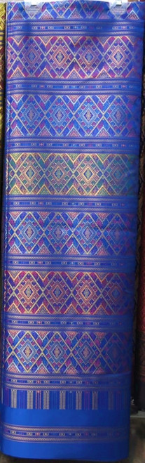 "Traditional Thai Silk  Fabric 40""x80"" for Thai-Laos Skirt (Praewa) Royal Blue"