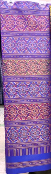 "Traditional Thai Silk Damask  Fabric 40""x80"" for Thai-Laos Skirt (Praewa) Purple"